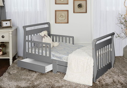 Storm Grey Sleigh Toddler Bed With Storage Drawer RS1