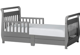 Storm Grey Sleigh Toddler Bed With Storage Drawer Silo1