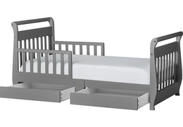 Storm Grey Sleigh Toddler Bed With Storage Drawer Silo2