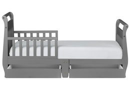 Storm Grey Sleigh Toddler Bed With Storage Drawer Silo4