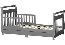 Storm Grey Sleigh Toddler Bed With Storage Drawer Silo5