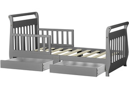 Storm Grey Sleigh Toddler Bed With Storage Drawer Silo6