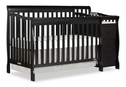 Black Brody 5 in 1 Convertible Crib with Changer Silo