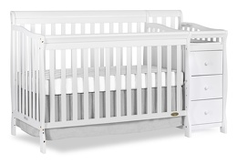 White Brody 5 in 1 Convertible Crib with Changer Silo