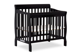 Black Aden 4 in 1 Convertible Mini Crib Silo Side