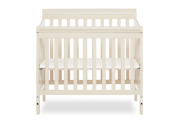 French White Aden 4 in 1 Convertible Mini Crib Silo Front