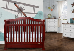 Cherry Addison 5 in 1 Convertible Crib Room Shot