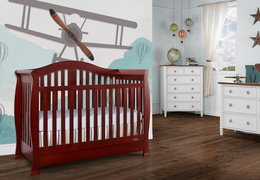 Cherry Addison 5 in 1 Convertible Crib Room Shot 1