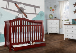 Cherry Addison 5 in 1 Convertible Crib Room Shot 2