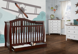 Espresso Addison 5 in 1 Convertible Crib Room Shot2