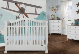 Grey Addison 5 in 1 Convertible Crib Room Shot