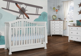 Grey Addison 5 in 1 Convertible Crib  Room Shot 1