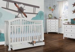 Grey Addison 5 in 1 Convertible Crib Room Shot 2
