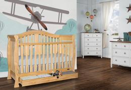 Natural Addison 5 in 1 Convertible Crib Room Shot 2