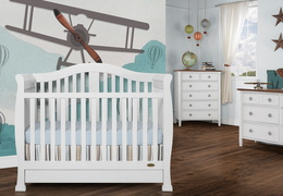 White Addison 5 in 1 Convertible Crib Room shot