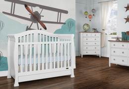 White Addison 5 in 1 Convertible Crib Room shot 1