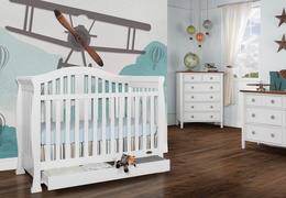 White Addison 5 in 1 Convertible Crib Room shot 2