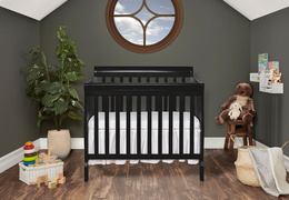 Black Aden 4 in 1 Convertible Mini Crib Room Shot