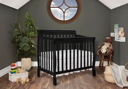 Black Aden 4 in 1 Convertible Mini Crib Side Room Shot