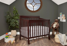 628-E Aden 4 in 1 Convertible Mini Crib Side Room Shot