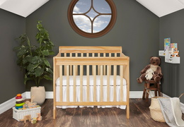 Natural Aden 4 in 1 Convertible Mini Crib Room Shot