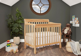 Natural Aden 4 in 1 Convertible Mini Crib Side Room Shot
