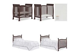 Espresso Violet/Piper 4 in 1 Convertible Mini Crib Collage