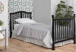 Black Addison 4 in 1 Convertible Crib Full Size Bed Head Foot Room Shot
