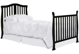 Black Addison 4 in 1 Convertible Crib Full Size Bed Head Foot Silo