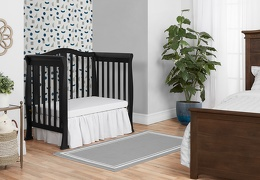Black Addison 4 in 1 Convertible Mini Crib Day Bed Room Shot