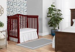 Cherry Addison 4 in 1 Convertible Crib Day Bed Room Shot