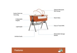 Lotus Bedside Sleeper in Orange Features