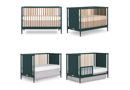 670-OLIVE Clover 4-in-1 Modern Island Crib With Rounded Spindles Collage