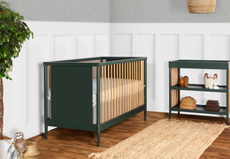 670-OLIVE Clover 4-in-1 Modern Island Crib With Rounded Spindles Room Shot