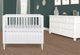 632-WHT Lucas 4 in 1 Mini Modern Crib With Rounded Spindles Room Shot 01