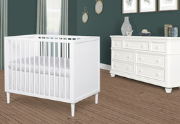 632-WHT Lucas 4 in 1 Mini Modern Crib With Rounded Spindles Room Shot 02