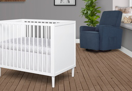 632-WHT Lucas 4 in 1 Mini Modern Crib With Rounded Spindles Room Shot 03
