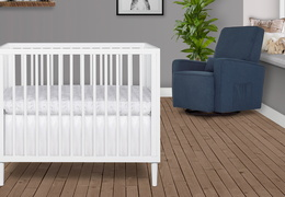 632-WHT Lucas 4 in 1 Mini Modern Crib With Rounded Spindles Room Shot 04
