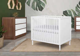 632-WHT Lucas 4 in 1 Mini Modern Crib With Rounded Spindles Room Shot 05