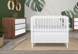 632-WHT Lucas 4 in 1 Mini Modern Crib With Rounded Spindles Room Shot 06
