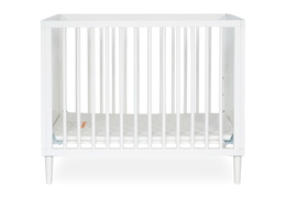 632-WHT Lucas 4 in 1 Mini Modern Crib With Rounded Spindles Silo 01