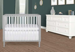 632-PGW Lucas 4 in 1 Mini Modern Crib With Rounded Spindles Room Shot 01