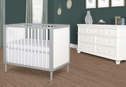 632-PGW Lucas 4 in 1 Mini Modern Crib With Rounded Spindles Room Shot 02