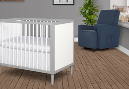 632-PGW Lucas 4 in 1 Mini Modern Crib With Rounded Spindles Room Shot 03