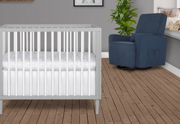 632-PGW Lucas 4 in 1 Mini Modern Crib With Rounded Spindles Room Shot 04