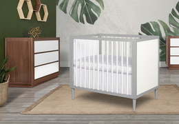 632-PGW Lucas 4 in 1 Mini Modern Crib With Rounded Spindles Room Shot 05