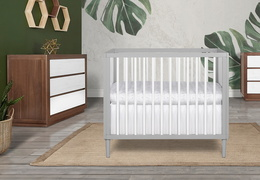 632-PGW Lucas 4 in 1 Mini Modern Crib With Rounded Spindles Room Shot 06