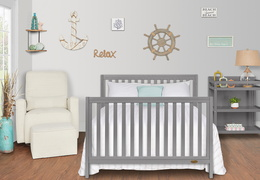 661-SGY Milo Full Size Bed and Changing Table Room Shot 02A