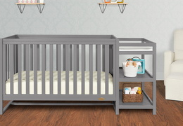 661-SGY Milo 5-in-1 Convertible Crib and Changing Table Room Shot 01