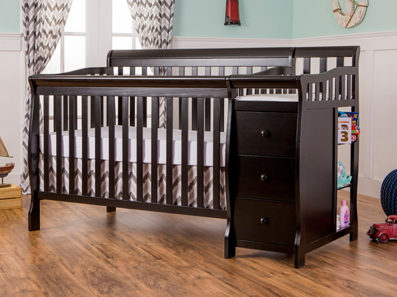 Black Brody 5 in 1 Convertible Crib with Changer